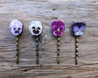 Flower hair pin, summer hairgrips, wedding hair accessories, bobby pins, hairgrip, pansy accessories, flower accessories, bridal hair comb