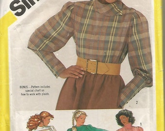 6034 Simplicity Sewing Pattern Blouse Left Shoulder Button Closing Size 16 38B Vintage 1980s