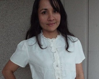 Vintage White Blouse with Eyelet Lace Trim - small