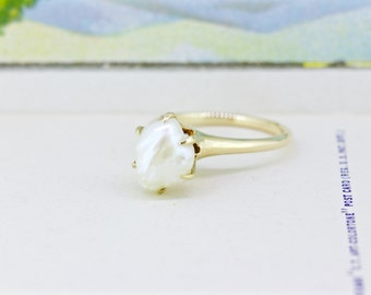 Antique River Pearl Ring | 14k Yellow Gold Ring | June Birthstone Ring | Pearl Engagement Ring | Raw Gemstone | Solitaire Ring | Size 6.75