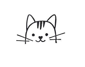 Cat rubber stamp, cat birthday gift, cat kids gift, peekaboo cat stamp, funny cat stamp, cute head stamp, animal stamp