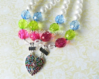Best Friends BFF Kids Matching Necklace Set Rhinestone Heart Pendant, Chunky Necklace For Little Girls, Twin Sister Necklace Valentines Gift