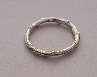 Twig Sterling Silver Band Ring for Women or Men, Olive Tree Branch Ring, Unique Nature Inspired Jewelry DA73