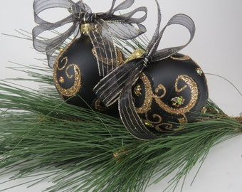 Glass Christmas Ornaments,  Black And Gold Glitter, Swirls, Handmade, Christmas Balls