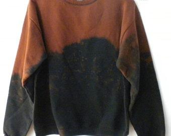 Black Sweatshirt, Cognac crewneck sweatshirt, acid wash sweatshirt, sweater, Dip Dye, Boho, Grunge, Rocker, retro