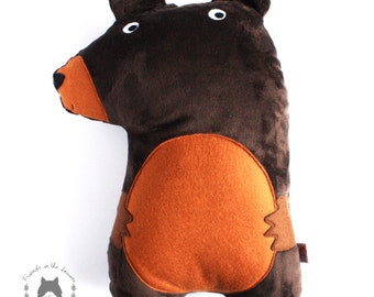 Brown Bear cushion soft toy soft furnishing woodland themed nursery children's bedroom pillow plushie