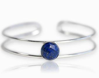 Large Gemstone Cuff - Silver Cuff Bracelet - Silver Labradorite Bracelet