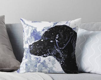 Black Lab Pillow 15WW - Labrador Pillow - Throw Pillow - Black Lab Decor - Black Lab Gifts - Outdoor Pillow - Dog Pillow - Black Lab Art