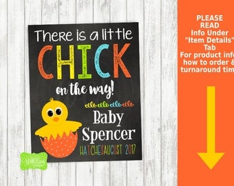 Easter Pregnancy Announcement Sign - Printable Pregnancy Announcement Sign - Digital Chalkboard Sign - Baby Chick Pregnancy Sign