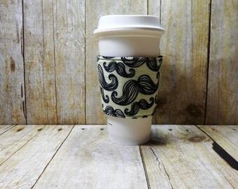Fabric Coffee Cozy / Moustache Coffee Cozy / Coffee Cozy / Tea Cozy