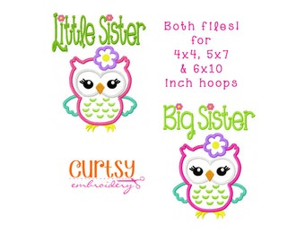 Owl Embroidery Design, Owl Applique Design, Little Sister Owl Applique Design