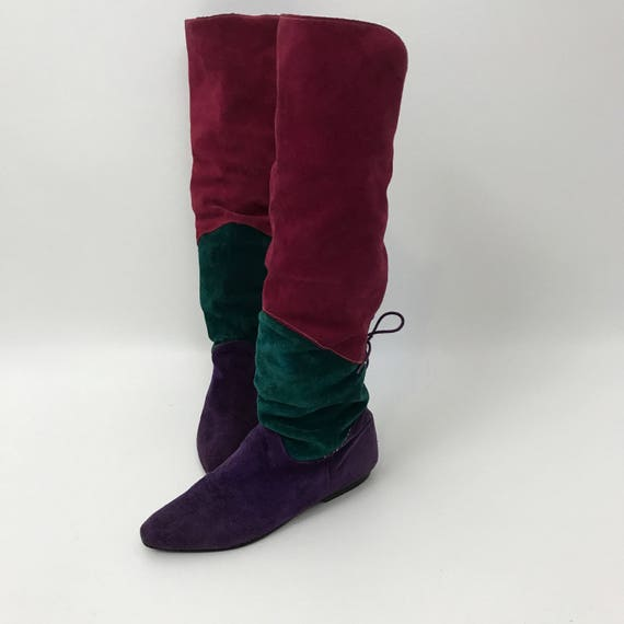 Vintage 80's Pink Green Purple Suede Boots - Size 7 Flat Leather Elf Boots - Slouchy Pointy 1980s Vintage Womens Boots - Renaissance Boots
