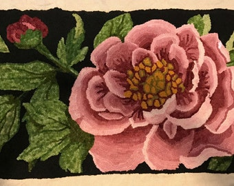 NEW! Rug Hooking Pattern on Monks Cloth ~ Peony Blossom Flower~ Choose Your Size
