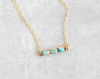turquoise pendant / turquoise bar necklace / turquoise necklace / gemstone pendant / birthstone pendant / december birthstone necklace
