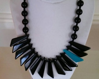 80's Black and Teal Statement Necklace