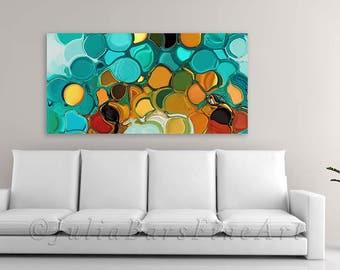 Abstract Giclee Print, Colorful Canvas Print, Orange, Turquoise, Teal, Green Art Print, Modern Wall Decor, Canvas Art, Digital Artwork