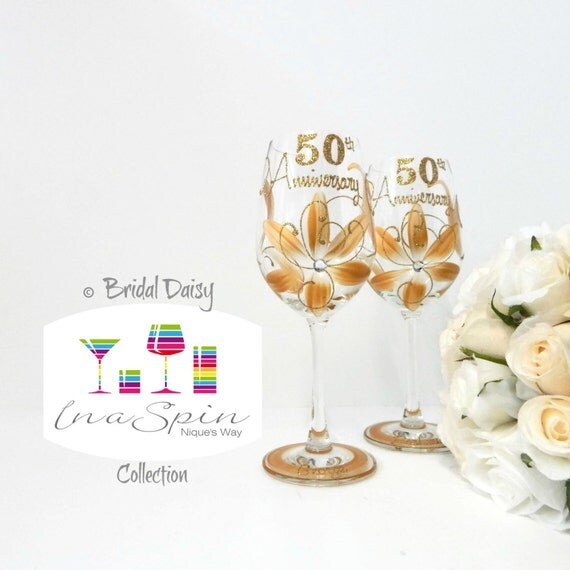 Gold 50th Anniversary Wine Glass Gift For By InaSpinNiquesWay