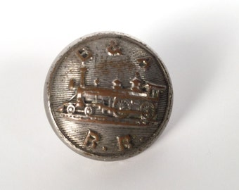 Vintage 1900s Railroad Button, B. and A. Railroad, Steam Locomotive, Metal Shank, Waterbury Button Company, Steam Engine, Train, Collectible