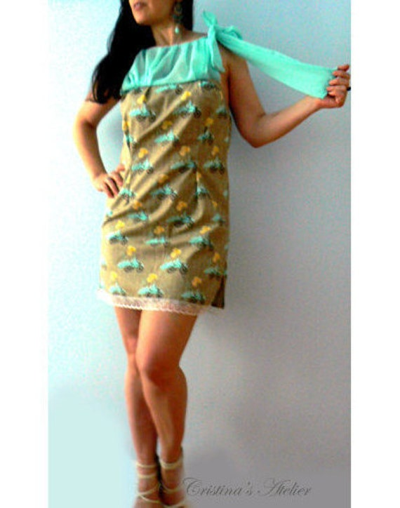 Bicycle bow dress- Mint brown chiffon cotton dress- Party print knee dress- Occasion women dress- Handmade fashion summer dress