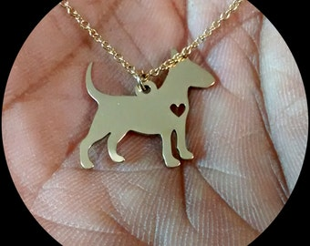 Bull Terrier Necklace - Engraving Pendant - Sterling Silver Jewelry - Gold Jewelry - Rose Gold Jewelry - Personalized Pet Dog Jewelry Charm