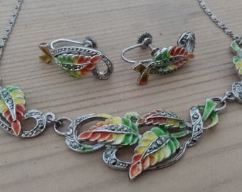Beautiful vintage enamel and marcasite necklace and earrings set