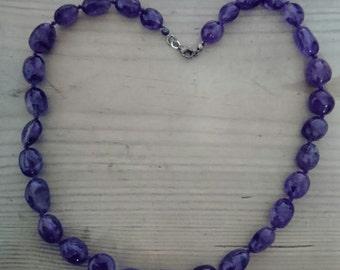 Vintage amethyst bead necklace