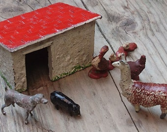 Vintage toy farm animals and building