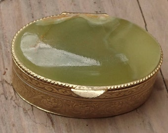 Small vintage onyx topped pill box