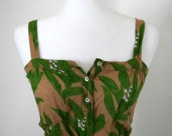 1950's Floral Linen Garden Dress