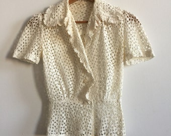 Vintage 1940's Fitted White Lace Blouse, XS