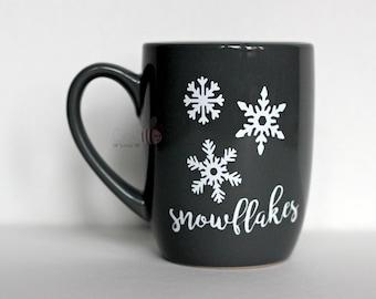 White Snowflakes 12 oz Dark Grey Mug