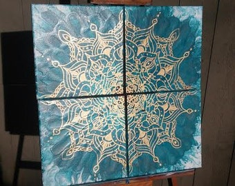 Abstract Gold Mandala with Turquoise Fluid Art Background