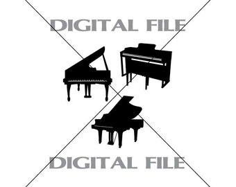 Three Pianos Vector Clipart Vinyl Decal T-shirt Digital Cutting Files ,Svg File, Ai, Eps, PNG