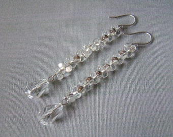 Clothing gift Crystal earrings Long dangle earrings Teardrop luxury Christmas earrings Bridal Winter holiday earrings Frozen Glittering