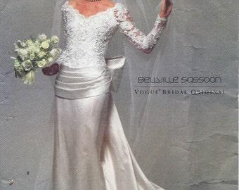 90s Vogue 2799 Bridal Designer Bellville Sassoon Bridal Gown Sewing Pattern UNCUT