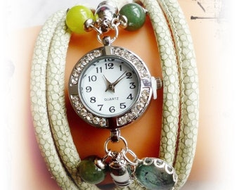 Caipirinha nappa leather wrap Bracelet Watch,