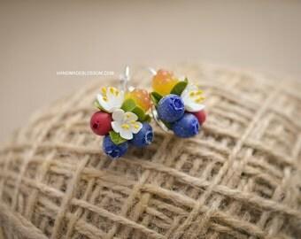 Berries earrings, Handmade berry, Polymer cjay earrings, Polymer clay berry, Berry earrings, Handmade earrings, Blueberry earrings