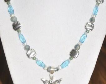 Necklace Sterling Silver 925 Pendant Blue Aqua Kyanite Pearl Aquamarine Crystal Glass 18 Inch #380217