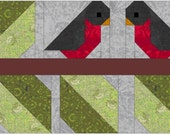 Love Birds Quilt Block Pattern, PDF, Instant Download, modern patchwork, bird, animal, cute