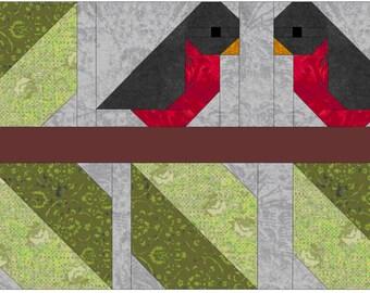 Love Birds Quilt Block Pattern, PDF, Instant Download, modern patchwork, bird, animal, cute