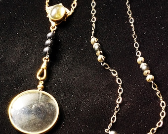 Victorian Womens Monocle Necklace Set Antique