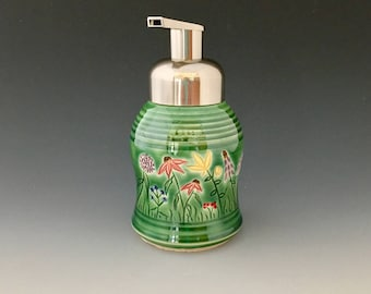 Ceramic Pump Dispenser for Foaming Soap by NorthWind Pottery One of a Kind Handmade Pottery Ceramic