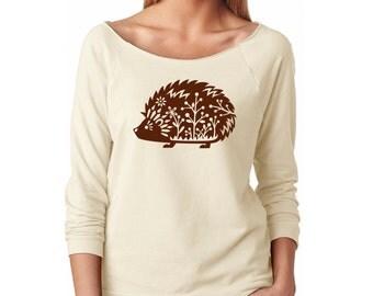 Slouchy Sweatshirt, Hedgehog Sweater Whimsical Woodland Critter Forest Animal 3/4 Sleeve Lightweight Raw Edge Raglan Sweater Ringspun Cotton