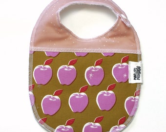 Double sided baby bib. Pink apples.