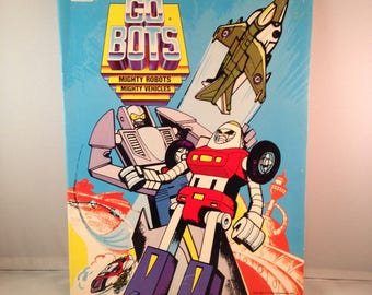 1985 GO BOTS - Mighty Robots, Mightly Vehicles Color / Activity Book