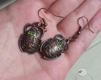 Antique Copper Scarab Earrings