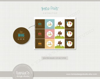 Gone Fishing - The Big One - Birthday Cupcake Toppers and Cupcake Wrappers - Instant Download - by Tania's Design Studio