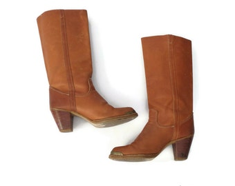 Zodiac Boots 70s Boot Hippie Boho Leather Heeled Size 7 Brown Hippy Bohemian 1970s Western Campus Stacked Heel