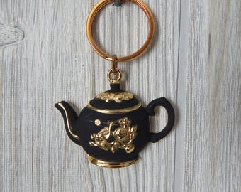 Vintage 80s 90s Danecraft Black and Gold Tone Floral Teapot Keychain