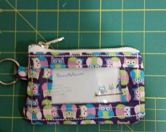 ID Wallet, Coin Purse, Zipper Closure, Made With cute owl Fabric